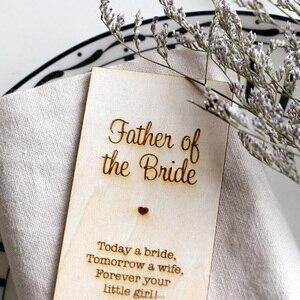 Отец невесты, персонализировать свадебные подарки для гостей, деревянная карточка для размещения, деревенский Свадебный декор, Свадебный д...