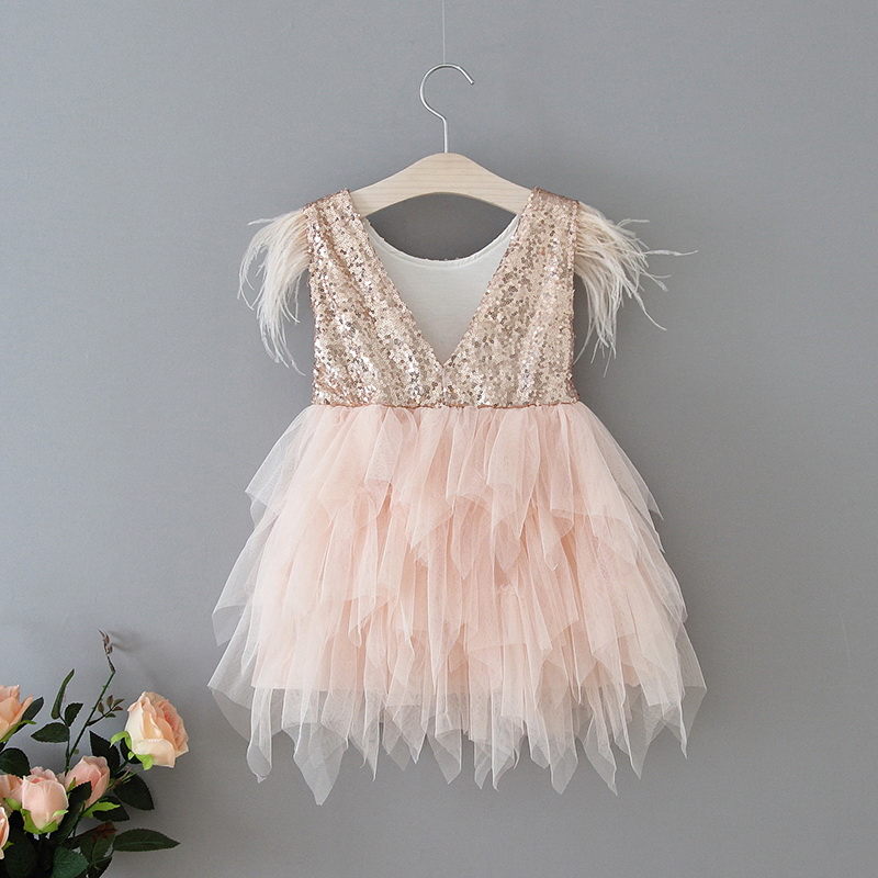69-8-Feather Sequins Tiered Girls Dress