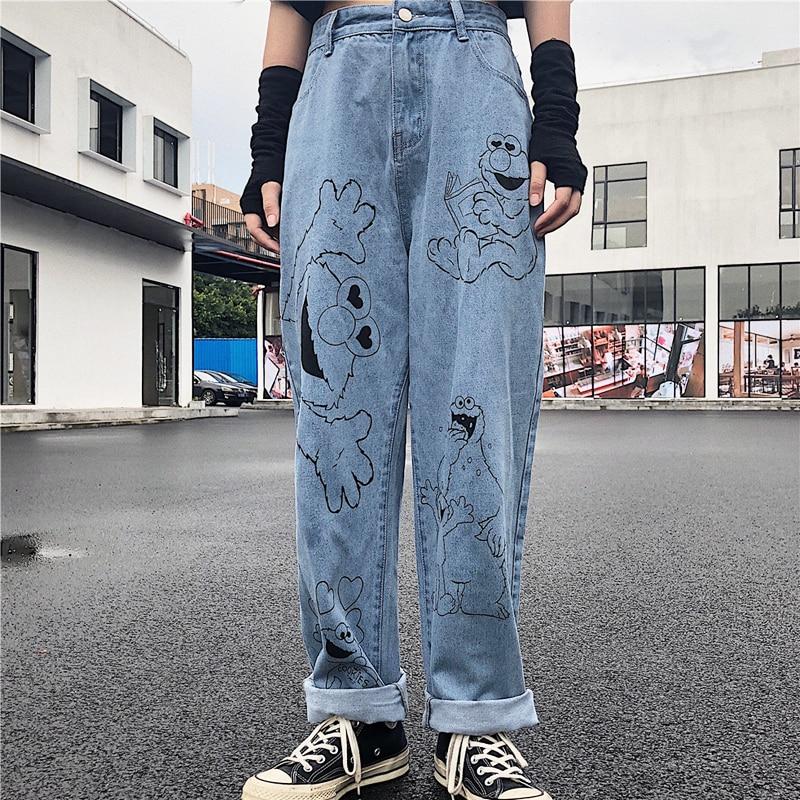 New Jeans For Women 2019 Autumn Pants Cotton Cartoon Jeans Loose Wide Leg Pants Vintage High Waist Jeans Female Trousers #7220