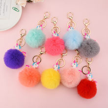 Imitated Rabbit Fur Key Ring Cute Cartoon Colorful Hair Ball Keychain Women Girl Shoulder Bag Holder Horse Key Chain(China)