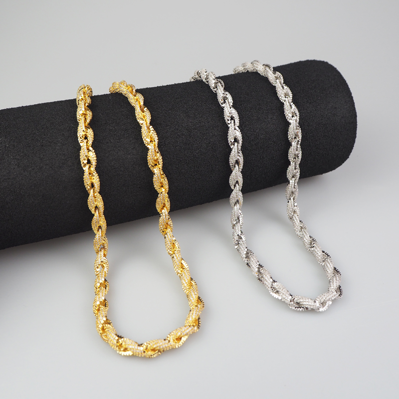 Rope Chain Necklace Gold And Silver Bicolor Hip Hop Copper Jewelry Gift|Customized Necklaces| - AliExpress