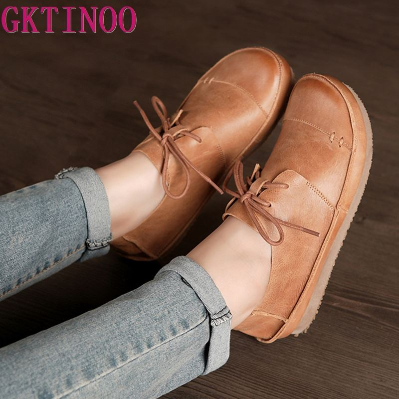 GKTINOO Women Shoes Flat 100% Genuine Leather Handmade Lace Up Ladies Shoes Flats Woman Moccasins Female Footwear Size 35-41