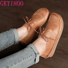 GKTINOO Women Shoes Flat 100% Genuine Leather Handmade Lace