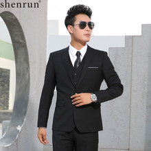 Shenrun Men Suits Slim Business Formal Casual Classic Suit Wedding Groom Party Prom Single Breasted Color Black Gray Navy Blue(China)
