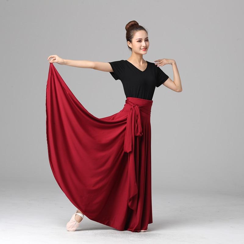 Women Dancing Costume Flamenco Waltz Ballroom Dance Skirt Classical Competition Practice Bandage Big Swing Spanish Skirts