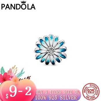 2020 New Spring 925 Sterling Silver Sparkling Blue Daisy Flower Charm Beads fit Original Pandora Charms Bracelet Jewelry Gift dropshipping 2020 new fashion silver beads bracelet blue flower floral crystal charms bracelet