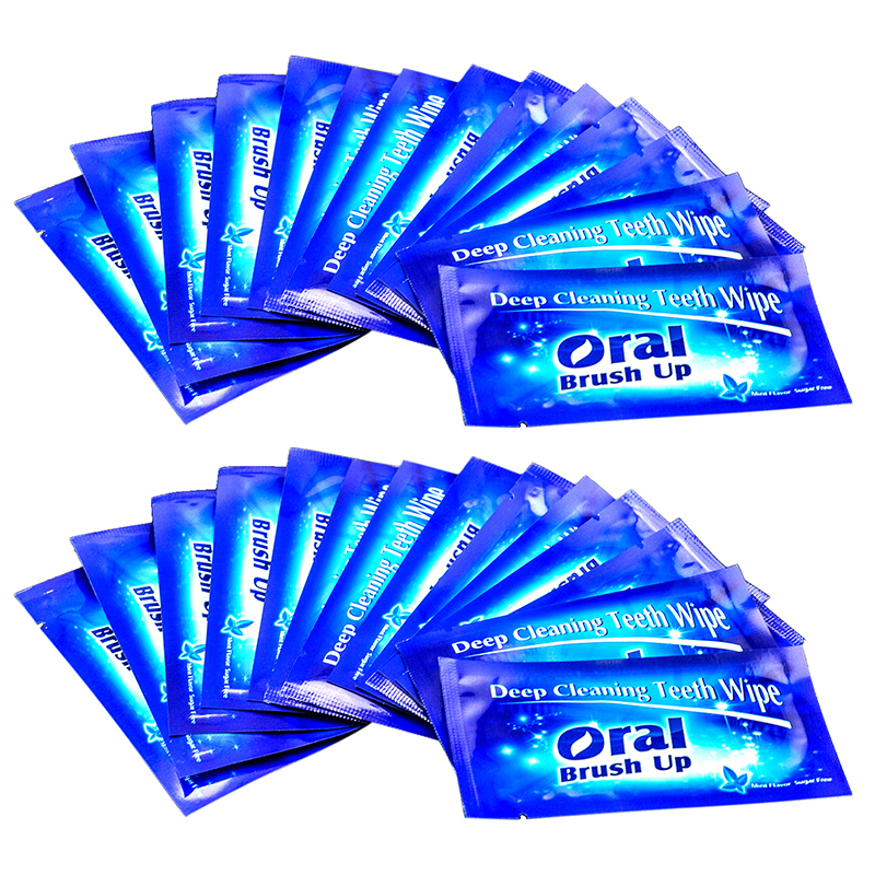 50pcs Finger Deep Cleaning Teeth Wipe Teeth Whitening Brush Up Wipes Dental Tooth Wipes Oral Hygiene Remove Residue Stains