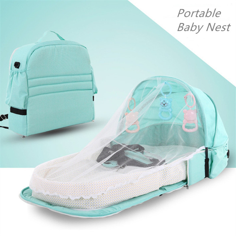 Portable Baby Nest Foldable Travel Crib Multi-function Folding Bed Baby Bed With Mosquito Net And Toys Summer Tent