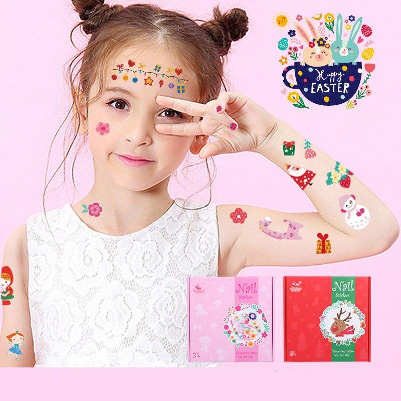 Kids Fake Henna For Children Adult Kids Festival Stickers Rock Art Cartoon Christmas Tattoo Stickers Flash Temporary Tattoo S