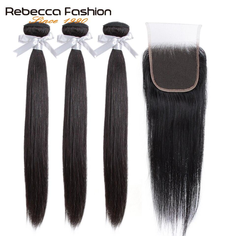Rebecca Human Hair Bundles With Closure 3 Bundles With Closure Remy Hair Extension Peruvian Straight Hair Bundles With Closure