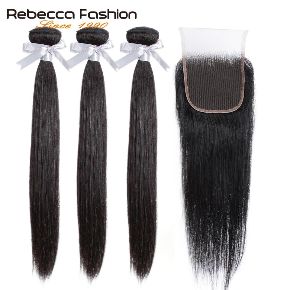 Rebecca Human Hair Bundles With Closure 3 Bundles With Closure Remy Hair Extension Peruvian Straight Hair Innrech Market.com
