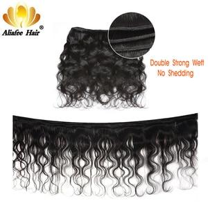 """Image 2 - Aliafee Hair malezyjski doczepy typu body wave z zamknięciem 100% ludzki włos nie Remy włosy wyplata 8 """" 28"""" Cal Natural Color"""