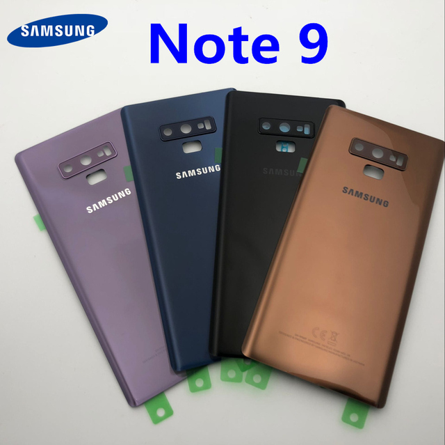 Note9 عودة الزجاج قطع غيار سامسونج غالاكسي ملاحظة 9 N960 N960F N960P SM N960F البطارية غطاء الباب الخلفي الإسكان حالة
