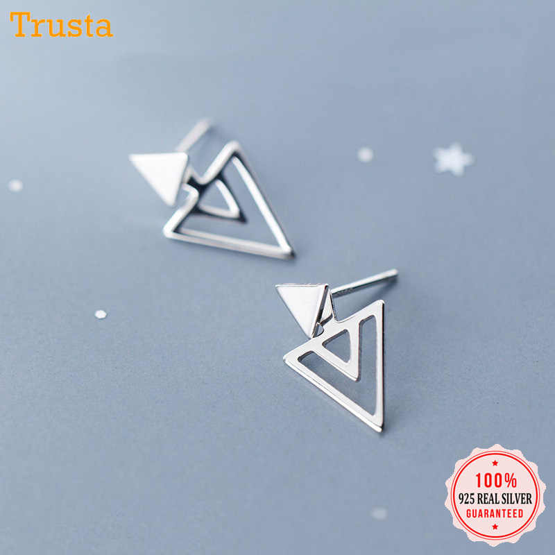 Trusta 100% Real 925 Sterling Silver Earring Jewelry Women Fashion Triangles Stud Earring For Teen Girl Lady Ds1476