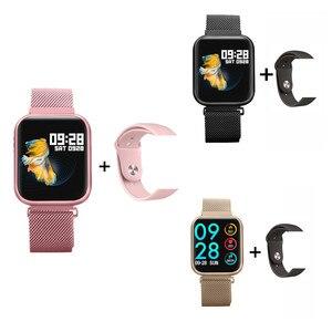 P80 inteligentny zegarek monitor ciśnienia krwi monitor aktywności Bluetooth sterowanie muzyką krokomierz Smartwatch opaska na iOS Android