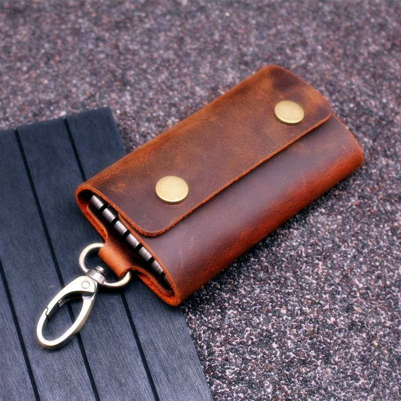 Handmade Genuine Leather Key Wallet Men Holder Keychain Pouch Purse Zipper Designer Housekeeper Car Small Key Case Keys Pouch