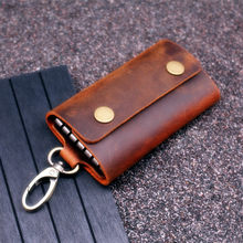 Handmade Genuine Leather Key Wallet Men Holder Keychain Pouch Purse Zipper Designer Housekeeper Car Small Key Case Keys Pouch(China)
