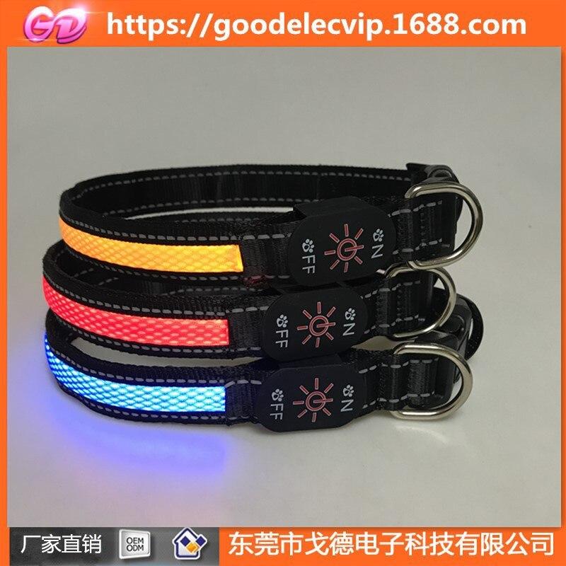 USB Charging LED Shining Pet Mesh Neck Ring Flash Collar Necklace Anti-Lost Highlight LED Dog Collar