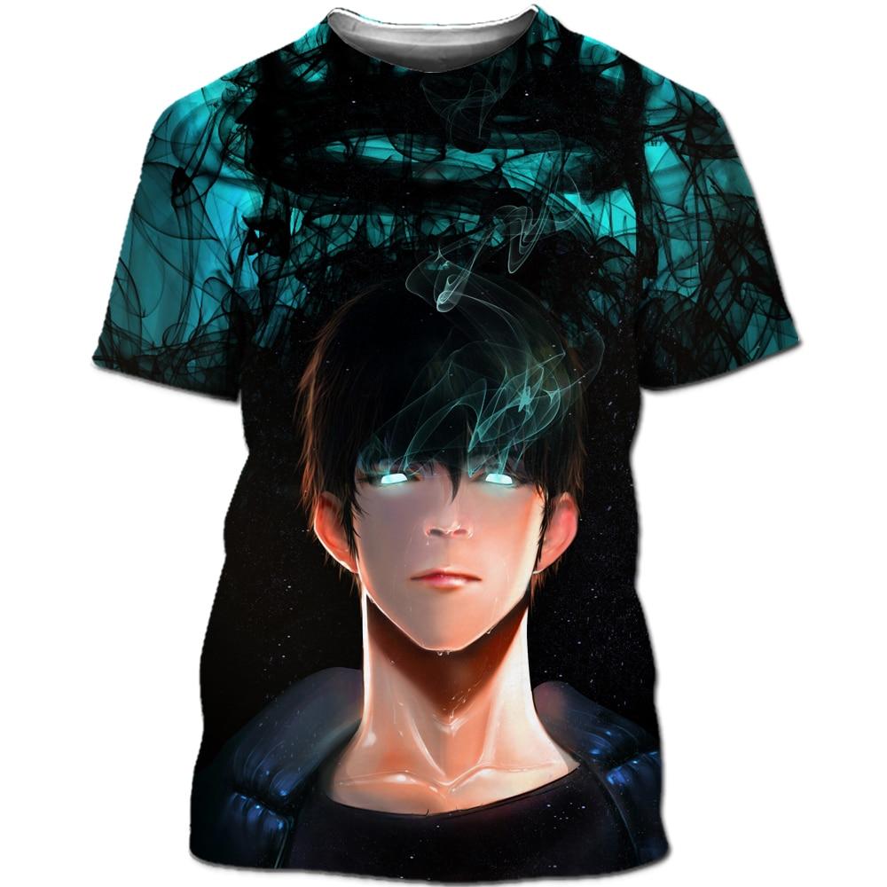 Solo Leveling Shirt men Korean anime 3D printing manga T-shirt Fun neutral streetwear cool T-shirt Harajuku pullover T-shirt top (25)