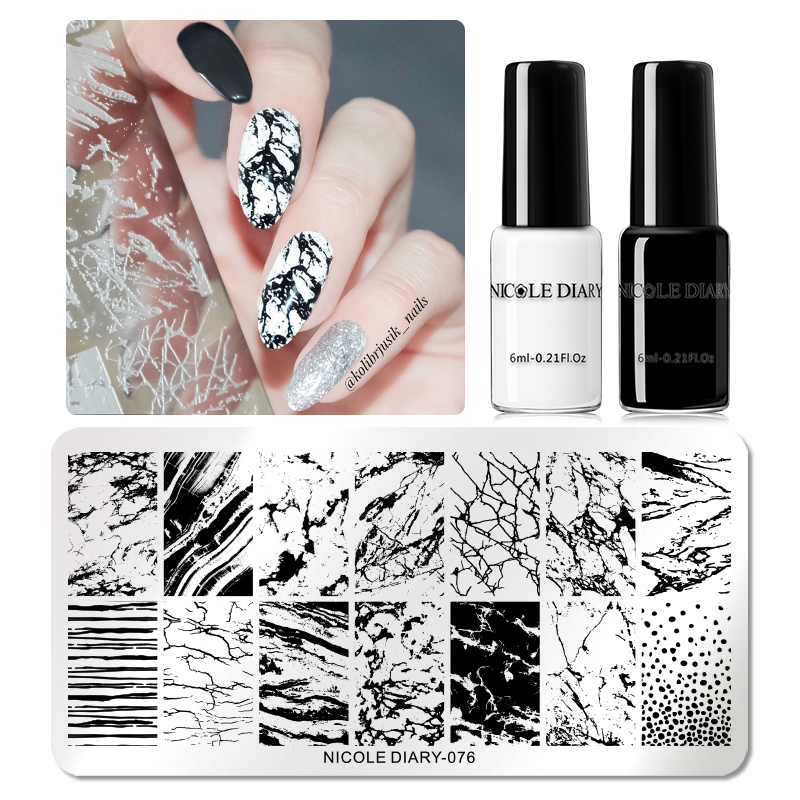 NICOLE DIARY Nail Art Stamping Set Stamping Template Plates Stainless Steel Flower Marble Plants Printing Nail Art Stamp Tool