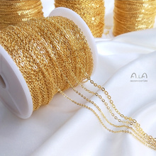 Customized Korean Copper 18K Gold-Plated Color Retention Chain Not Easy to Fade O-Shaped Chain Necklace DIY Handmade Bracelet