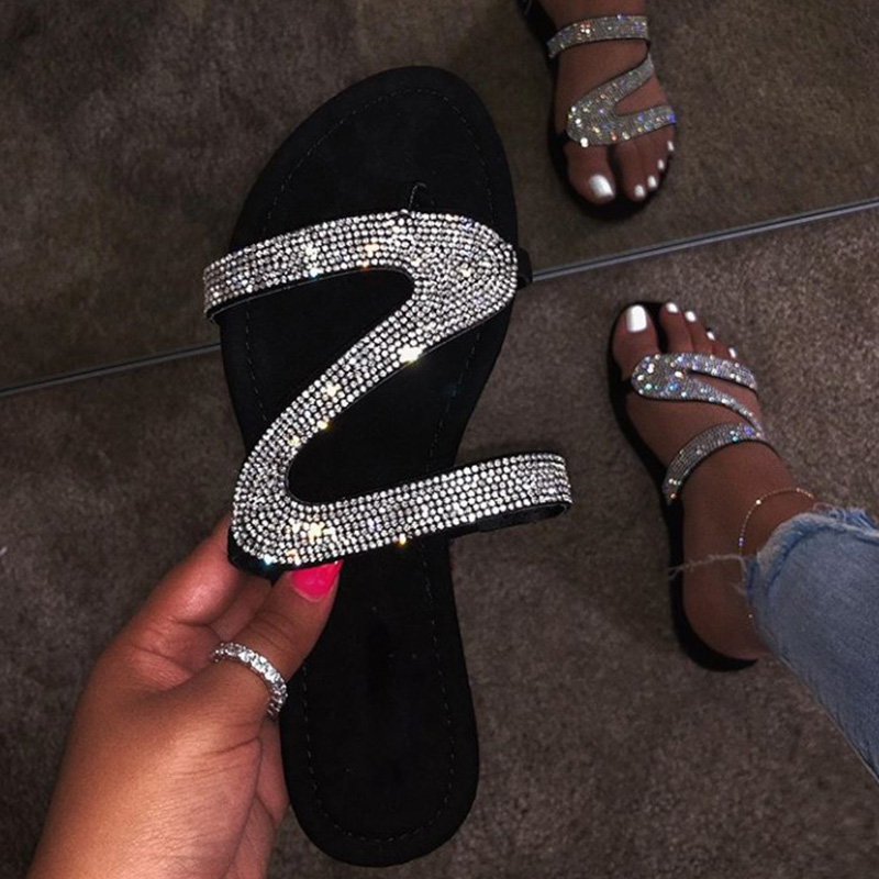 Zapatillas planas de verano para mujer, sandalias con punta abierta de cristal para la playa, chanclas informales para mujer, calzado de moda nuevo Zapatillas de piel
