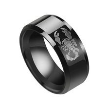 Cheap 8mm 316L Black Stainless Steel Scorpion Pattern Rings Punk Vintage Ring Titanium Rings for Men Women Wedding Bands(China)