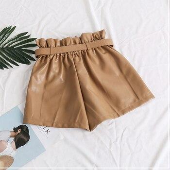 High Waist Elasticity PU Leather Shorts Women Fashion Cool Punk Sashes Short Pants Breathable Fashion Loose Elastic Waist Shorts 3