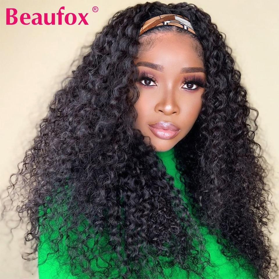 Beaufox Water Wave Headband Wig Human Hair Wigs For Black Women Brazilian Scarf Wig No Gel Glueless Remy Curly Human Hair Wigs