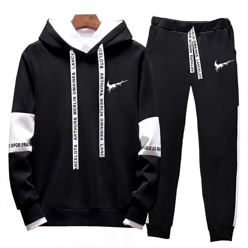 Casual Tracksuit Set Men Fashion 2019 Jogger Sports Sportswear Suits Spring Autumn Two Pieces Hoodies Pants Set Male Sweat Suit