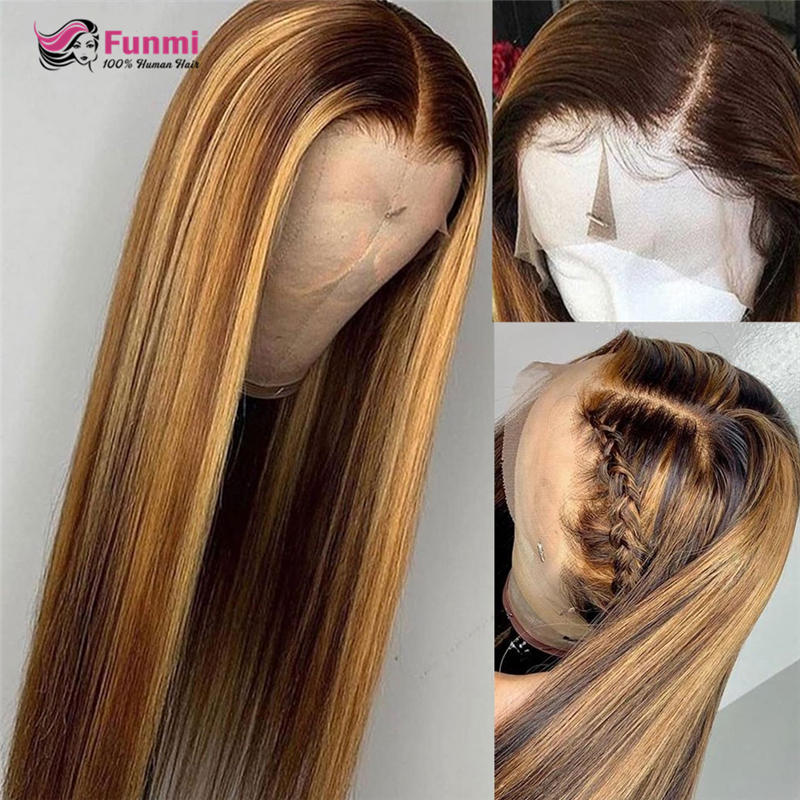 Honey Blonde Highlight Brown Ombre Hair Wig Brazilian Straight Lace Front Human Hair Wigs Ombre Lace Front Wig For Black Women