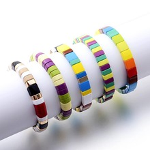 Fashion Women Painted Metal Cuff Bangle Jewelry Stackable Stack Rainbow Colorful Elastic Stretch Enamel Bead Tile Bracelet