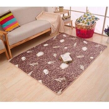 Feather Pattern Suede Bathroom Carpet Floor Rug 1pcs Home Decoration Bath Mat Sofa Carpet Anti-slip Quality Bath Pads Bed Rugs
