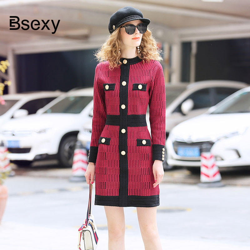 Vintage Houndstooth Red Plaid Dress 2019 Autumn Winter Runway Designer Single Breasted Knitted Dress Bodycon Sweater Dress image