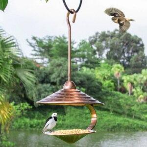 Напольная кормушка для птиц, металлическая подвесная кормушка для диких птиц, домашний декор для сада, винтажная птица, продукты питания, ко...