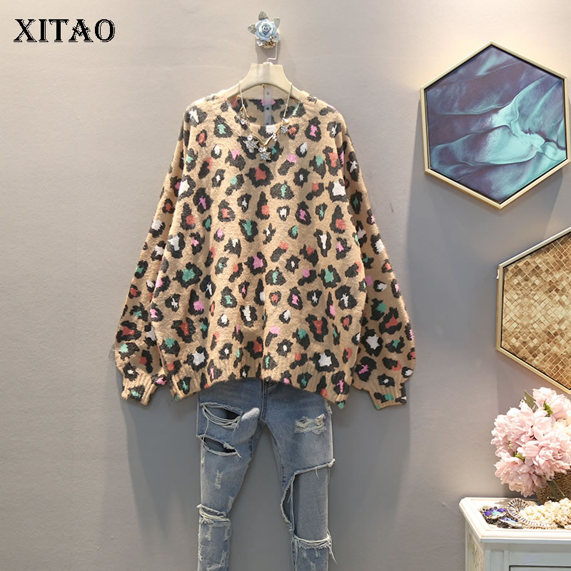XITAO Knitted Women Fashion New 2019 Autumn Elegant Straight Leopard Full Sleeve Small Fresh Minority Casual Pullovers GCC2602