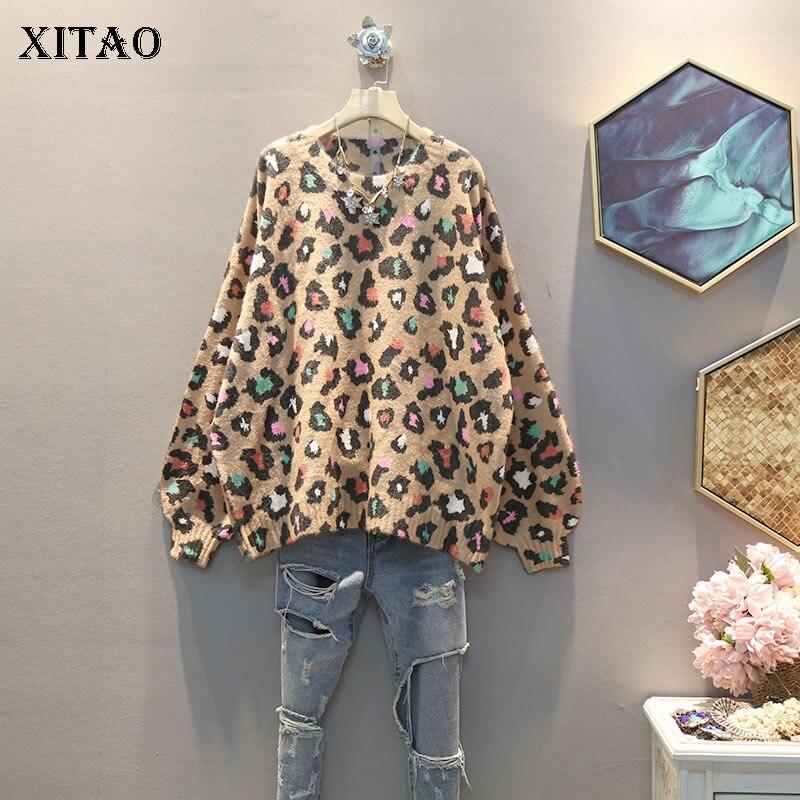 XITAO tricoté femmes mode nouveau 2019 automne élégant droite léopard manches longues petite minorité fraîche pulls décontractés GCC2602