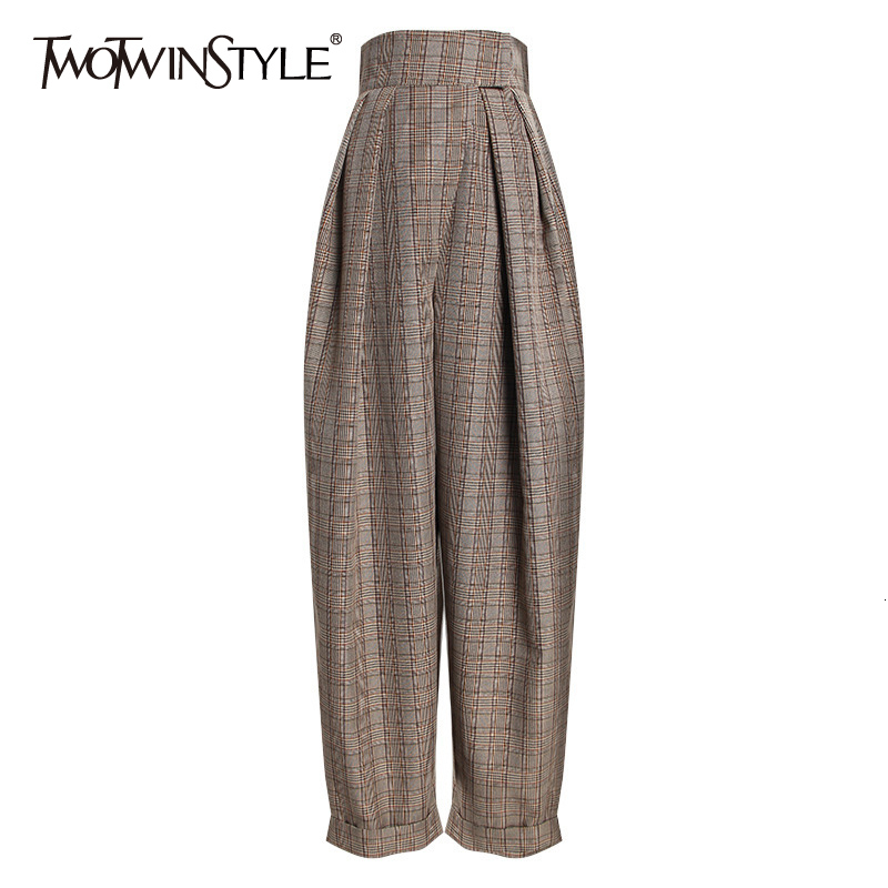 TWOTWINSTYLE Plaid Ruched Harem Trousers For Women High Waist Casual Asymmetrical Ankle Length Pants Female 2020 Fashion Autumn