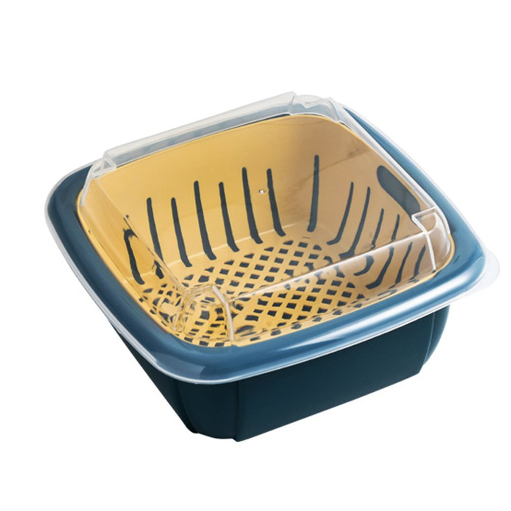 Multifunction Double-layer Drain Basket With Lid Kitchen Refrigerator Drain Storage Box Plastic Fruit Storage Basket