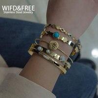 Joyería de combinación de acero inoxidable para mujer, pulsera de cuentas de bisutería, combinación de brazalete chapado en oro, regalo a amigos, 2021