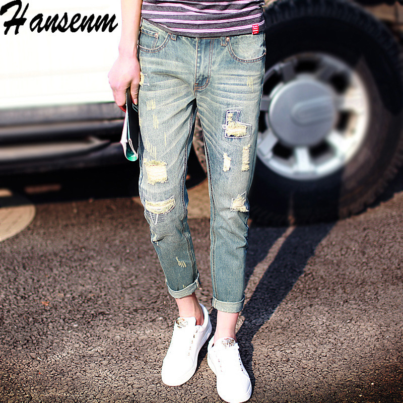 2018 Men Denim (Ankle-length Pants) Skinny Men's Slim Fit Korean-style With Holes Jeans Patch Jeans Tide Generation