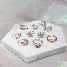 Moda delicada zircão cristal concha flor coração anéis para as mulheres moda ajustável anéis lua doce micro pave presentes de festa