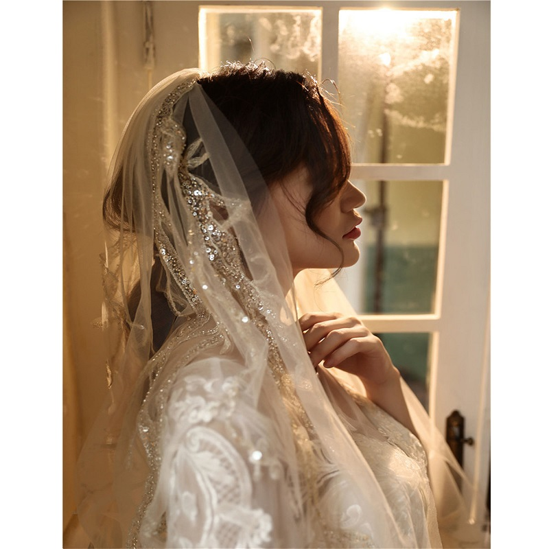 Luxurious Bling Bling Sequins Lace Appliques Bridal Long Wedding Veil Sparking Bride's Headdress Cathedral Headwear For Bride's