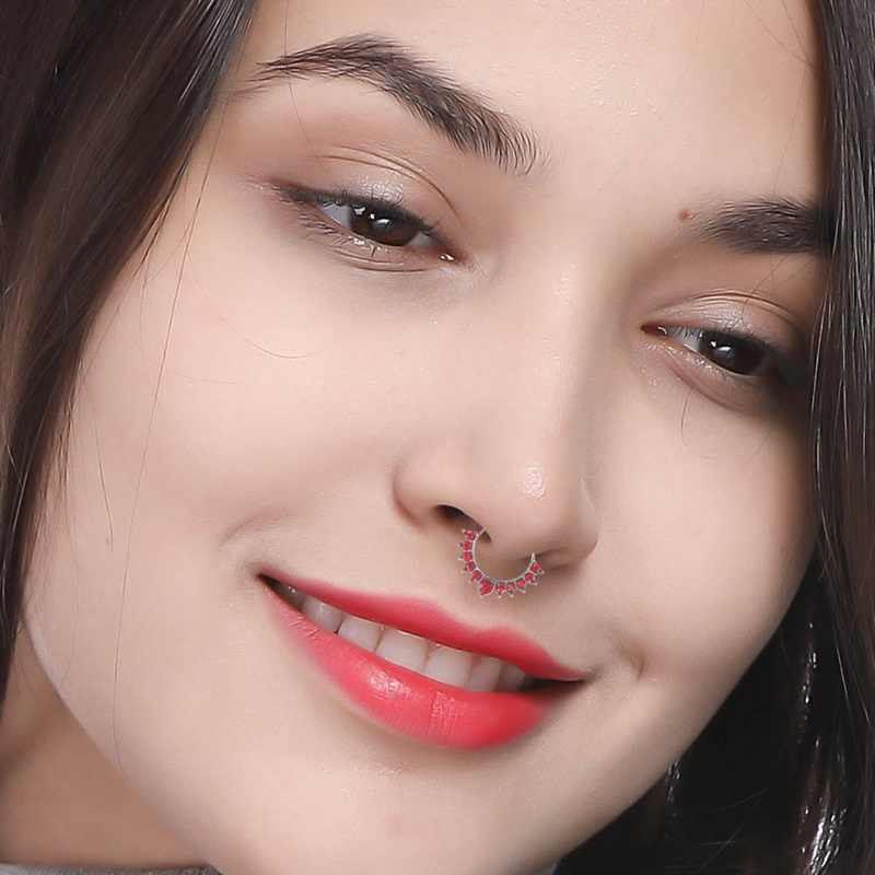 Black Crystal Fake Septum Piercing Nose Ring Hoop Nose For Women Faux Body Clip Rings  Non Body Jewelry Wholesale