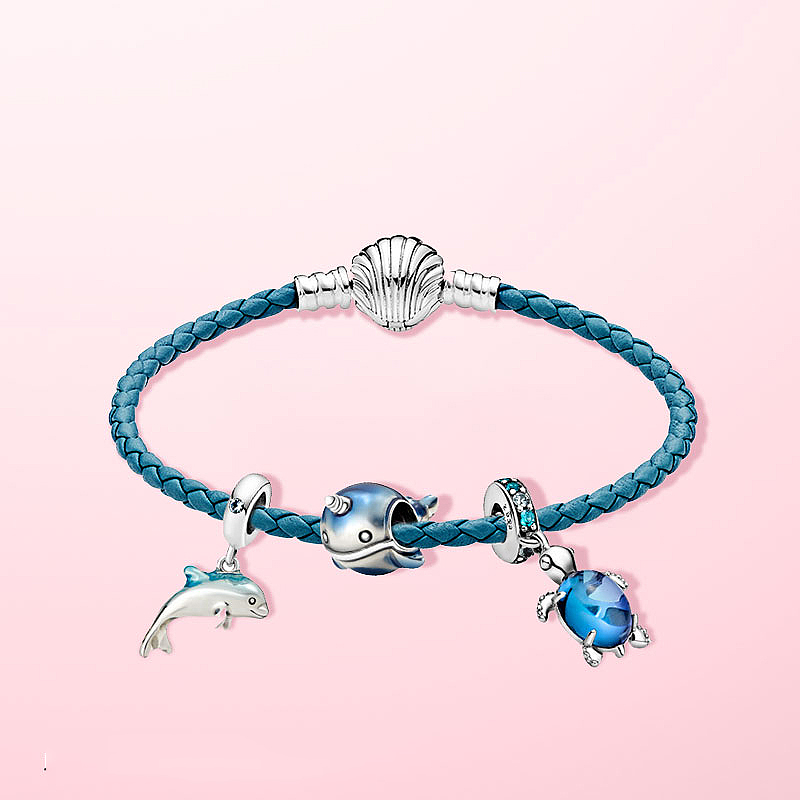 2020 New Summer 925 Sterling Silver Seashell Clasp Turquoise Braided Leather Bracelet For Women Fashion DIY Jewelry 1