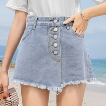 High Waist Shorts Skirts Slim Light Blue Womens Denim Fashion Novel Summer Ladies Casual Fake Two-piece Skirt