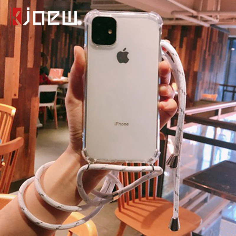 KJOEW Cord Chain Transparent Soft Phone Case For iPhone 11 Pro XS Max XR X 7 8 6 6s Plus Carry Necklace Lanyard Clear Cover Case(China)