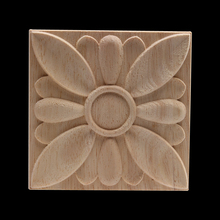 Wood Craft Decal Frame Applique Modern Unpainted Decor Long Leaves Flower Wooden Furniture Walls  NEW
