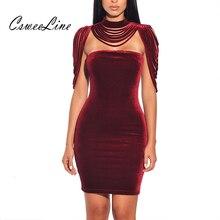 נשים סטרפלס קטיפה Bodycon שמלת ערב המפלגה חדש שנה תלבושת גבוהה צוואר שכבות טאסל ללא משענת אלגנטית סקסי יין אדום שמלה