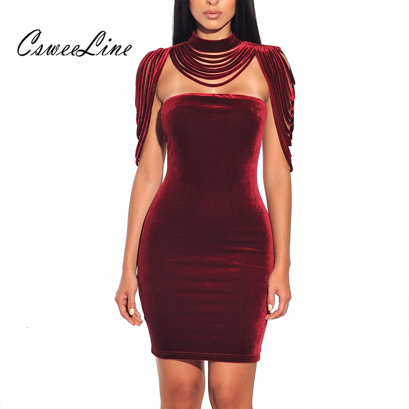 Women Strapless Velvet Bodycon Dress Evening Party New Year  Outfit High Neck Layered Tassel Backless Elegant Sexy Wine Red  DressDresses